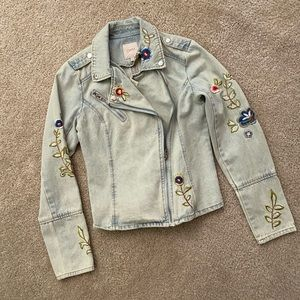 Candies jean jacket with embroidery detail